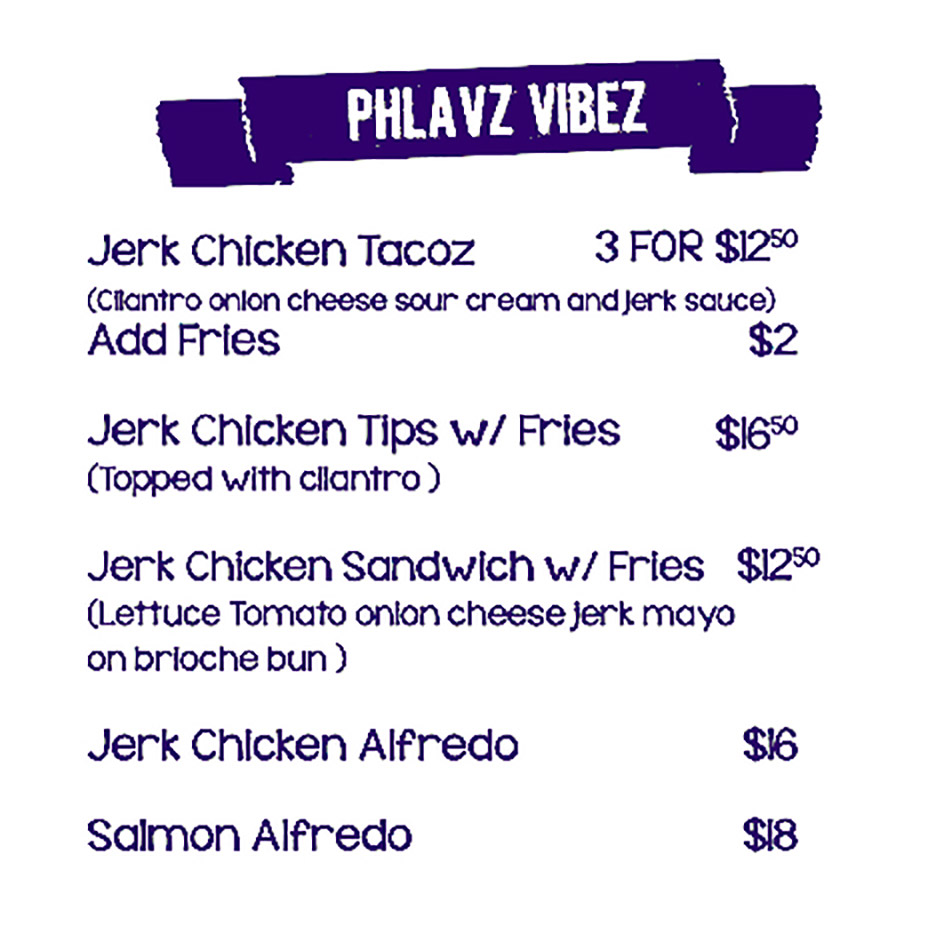 Phlavz Bar & Grille Menu